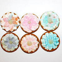 Decorative Pink, Blue, and Purple Flower Cork Magnets - 6 Pack!