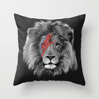 David Bowie Lion Throw Pillow by Urban Exclaim