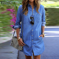 New Arrival ZANZEA Women Mini Dress 2017 Autumn Casual Loose Long Sleeve Shirt Dresses Denim Vestido