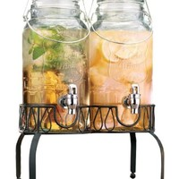 Elegant Set of Two Clear Glass Bail & Trigger Beverage Dispensers with Acrylic Spigots on Metal Stand ~ 3-liter Each ~ Home Bar & Party Centerpiece:Amazon:Kitchen & Dining