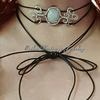 Moonstone Wire Wrapped Sterling Silver Black Leather Wrap Choker, Bohemian, Hippie, Gypsy, Trendy, Free, Leather Wrap Choker