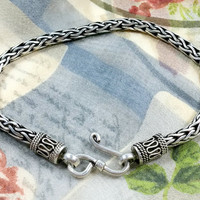 ViNTAgE BYZAnTiNe StERLiNg SILvEr BrACELeT 8.5 Inches Wearable Length Thick Chain Interwoven 3/16 Inch or 4 mm Thick Casual Sophistication