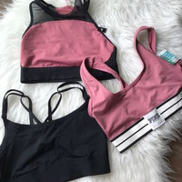 Lot Of 3 New Victoria's Secret Pink Unlined Sport Bra Bralette Black Xsmall XS