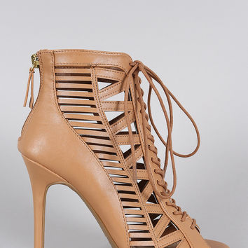 Anne Michelle Caged Lace Up Peep Toe Booties