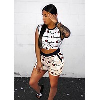Champion Summer Woman Casual Print Sleeveless Vest Top Shorts Set Two Piece White