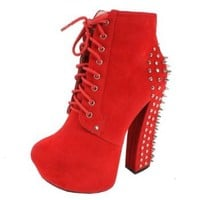 RIPLAY ANNE-48 Women's lace up round toe platform ankle bootie on chunky heels with micro suede upper and metal studs and spikes on the heel