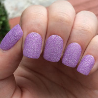 Purple nails, fake nails, press on nails, textured nails