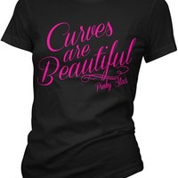 """""""Curves Are Beautiful"""" Tee by Pinky Star (Black)"""