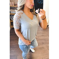 Savvy In Lace Tunic (Heather Grey)