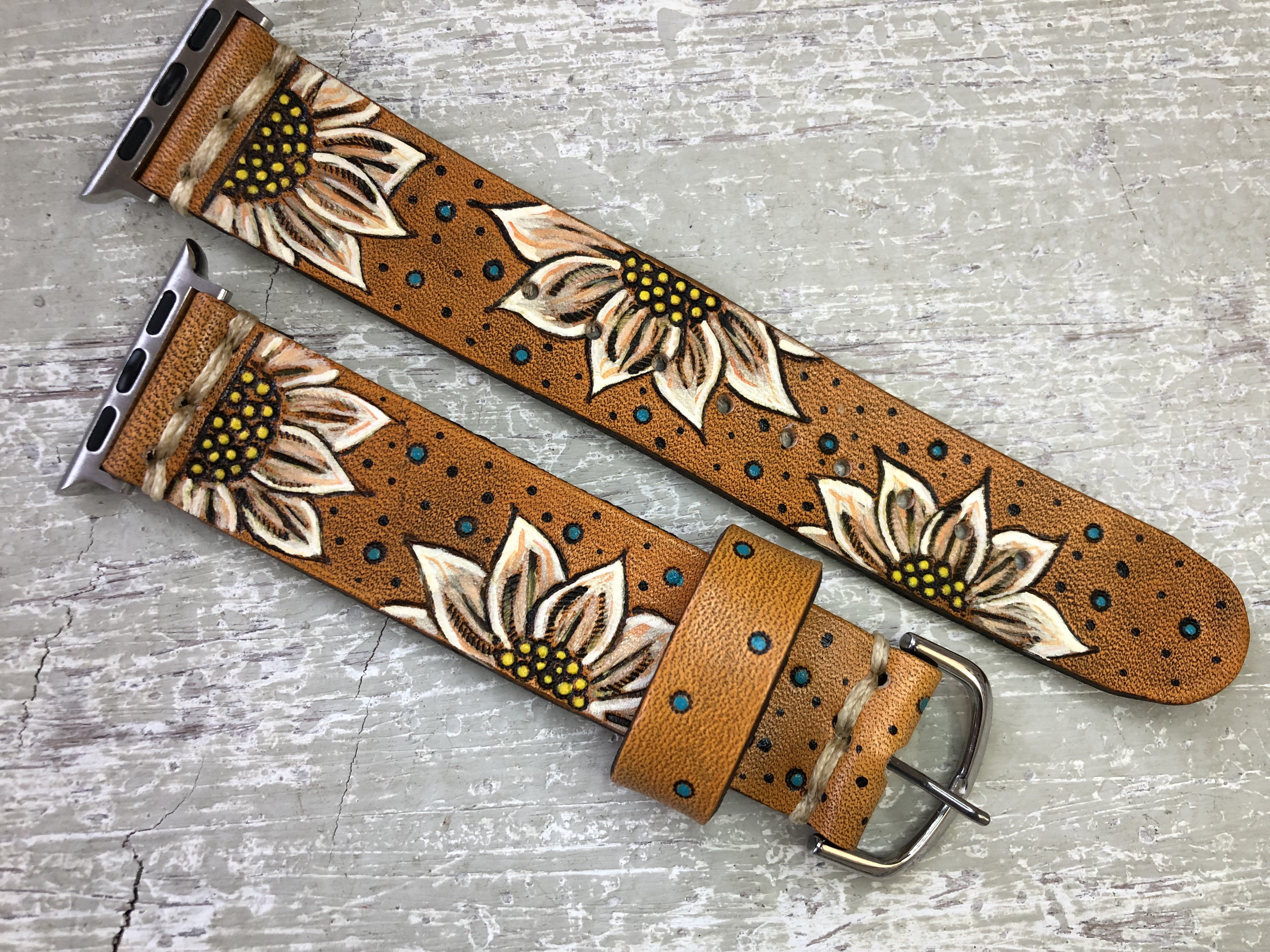 Image of Leather Apple Watch Band Sunflowers