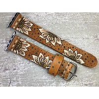 Leather Apple Watch Band Sunflowers