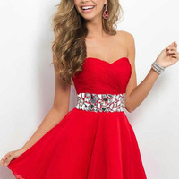 red chiffon prom dress   short sweetheart homecoming gowns   cheap dress for party with rhinestones