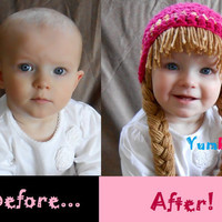 Baby Beanie Wig Beanie Pigtail Wig Hot Pink Baby Hat