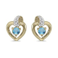 14K Yellow Gold Round Blue Topaz and Diamond Heart Shaped Earrings