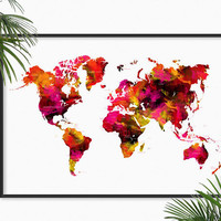World Map Watercolor Art Print Watercolor painting Map of the World Map Home Decor art Map wall art Globe Atlas Map Geography Print Gifts