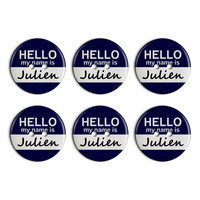 Julien Hello My Name Is Plastic Resin Button Set of 6