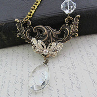 Pembroke - Vintage Rhinestone Bow Pendant Statement Necklace