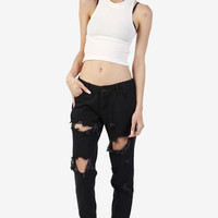 Zip Bottom Destroyed Black Denim