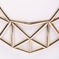 Gold High Polish Metal Perforated Geometric Necklace