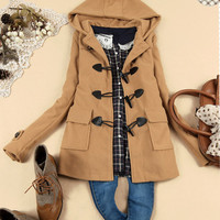 Casual Womens Solid Duffle Coats Outwear Hooded Hoody Toggles