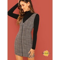 Plaid Fitted Shell Dress