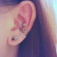 Silver Ivy twine nature ear cuffs