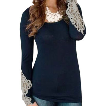 2016 Fashion Spring Blusas Women Bodycon Lace Crochet Long Sleeve Blouses Brand New Casual O Neck Shirts Tops Plus Size S-6XL