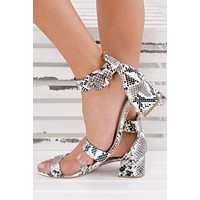 A Lady With Class Simple Heels (Black/White Snake)
