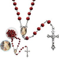 Guardian Angel Red Beads Scented Rosary w/ Gift Box