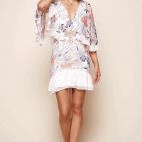 Caspar Batwing Floral Dress White