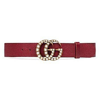 Gucci Imitation Pearl Double-G Leather Belt | Nordstrom