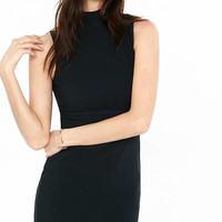 Black Ribbed Mock Neck Sheath Dress from EXPRESS