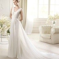 White A-line V-neck Lace Chiffon 2013 Wedding Dress IWD0207 -Shop offer 2013 wedding dresses,prom dresses,party dresses for girls on sale. #Category#