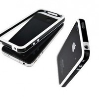 SANOXY LUXURY QUILTED PU LEATHER CHROME CASE COVER FOR APPLE IPHONE 4 4S for Apple Iphone 4 / 4S - Black / Silver