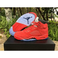 Nike Air Jordan Retro 5 Raging Bulls Bull Red Suede basketball shoes