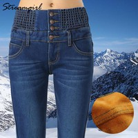 Warm Jeans Women Winter With High Waist Mom Vintage Black Winter Jeans Woman Plus Size Thick Denim Pants Female Jean Femme