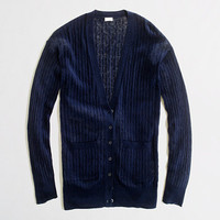 Factory linen-cotton cable-knit cardigan