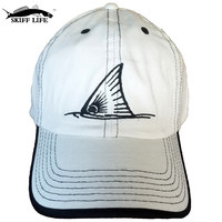 Skiff Life Khaki with Black Trim Fishing Hat embroidered with Redfish Tail