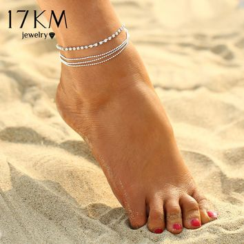17KM 1 PC Multi-layer Sexy Crystal Anklet Foot Chain Summer Bracelet Charm Anklets Beach Foot Wedding Jewelry Gift