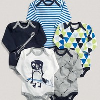 Boys Essentials Five Pack Of Blue Long Sleeved One Pieces