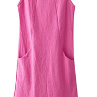 Pink Sleeveless Dress with Pockets