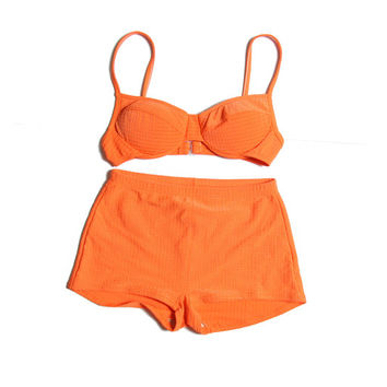 90s Neon Bikini - 90s - Booty Shorts - High Waisted - 90s Bikini - 90s Swimsuit - Neon Orange - Beachwear - Bikini Shorts - Underwire Bikini