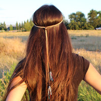 Red Turquoise Feather Tan Leather  Nymph Headband, Boho Hippie Hair Accessory, Women Gift