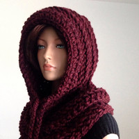 Crochet Scoodie. Hooded Cowl. Crochet Chunky Neckwarmer. Hooded Wool Cowl