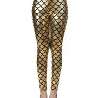 Golden Mermaid Fish Scale High Waist Leather Leggings