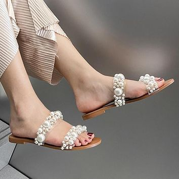 New ladies shoes flat sandals pearl decoration slippers