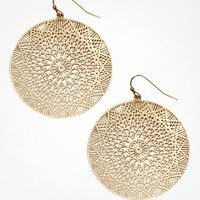 LASER CUT FILIGREE DISC EARRINGS