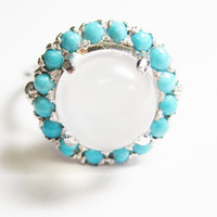 Sterling White Moonstone Turquoise Halo Engagement Ring Size 6