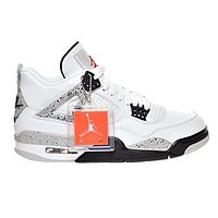 "Air Jordan 4 Retro OG ""CEMENT"" Men's Shoes White/Fire Red/Black/Tech Grey 840606-192"