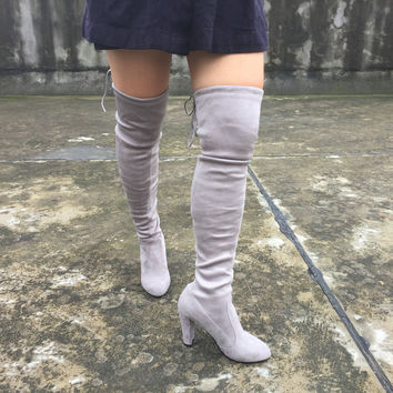 Quality Faux Suede Women Thigh High Boots Stretch Sexy Fashion Over the Knee Boots Female Shoes High Heels Black Gray Wine Nude